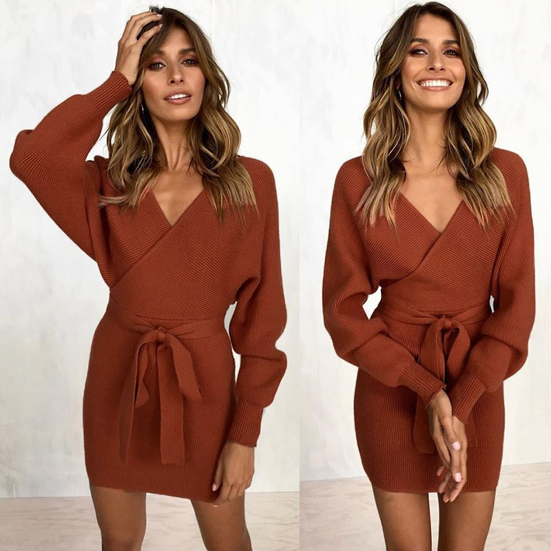 VIEUNSTA New Autumn Winter Backless Sweater Dress Women Cross Double V-neck knitted Warm Dresses Sexy Bodycon Slim Belted Dress