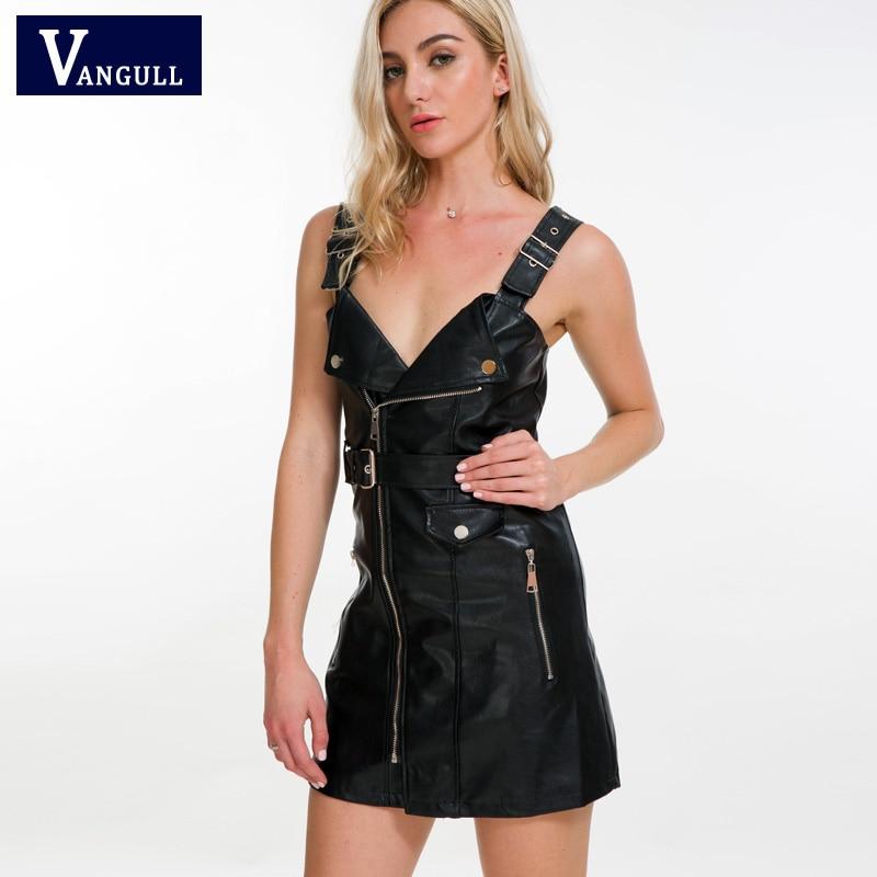 Vangull 2018 New Women Leather Dress Soft PU Faux Leather Dress V Nck Sexy Slim Retro Black Short Mini Dress vestido de festa