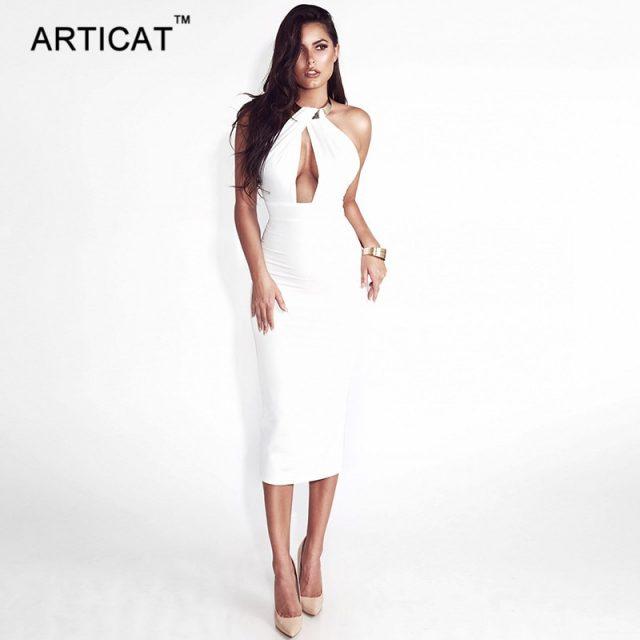 Articat Hollow Out Party Bodycon Bandage Dress Women 2017 Off Shoulder Choker Long Pencil Dress Sexy Backless Split Winter Dress