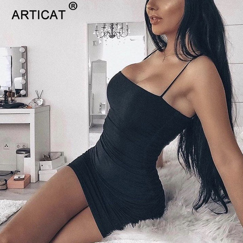 Articat Black Sexy Bodycon Summer Dress 2018 Strapless Spaghetti Strap Bandage Mini Dress Party Casual Basic Beach Dress Short