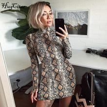Hugcitar snake skin long & short sleeve dress 2018 autumn women sexy Bodycon snakeskin high neck party mini dresses