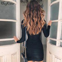 Hugcitar long sleeve high neck high waist bodycon sexy mini dress 2018 autumn winter women fashion party elegant dresses
