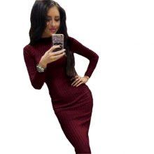 Women's Autumn Spring Dresses Robe Sexy Black Midi Sheath Slim Bodycon Dress Long Sleeve Elegant Package Hip Dress GV424