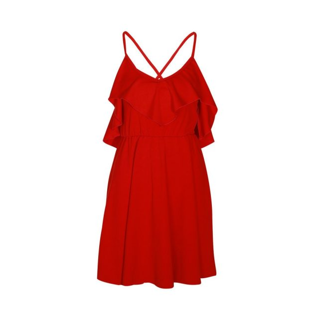 Lossky Summer Sexy Dress Women's 2018 Backless Cross Drawstring Ruffles Bundle Waist V-neck Strap Mini Dress Summer Red Vintage