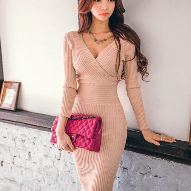 Fit 45-70KG Autumn Winter Women Knitted Cotton Skinny Sweater Dress V-neck Slim Bodycon Dress Elegant Pink Sexy Party Vestidos
