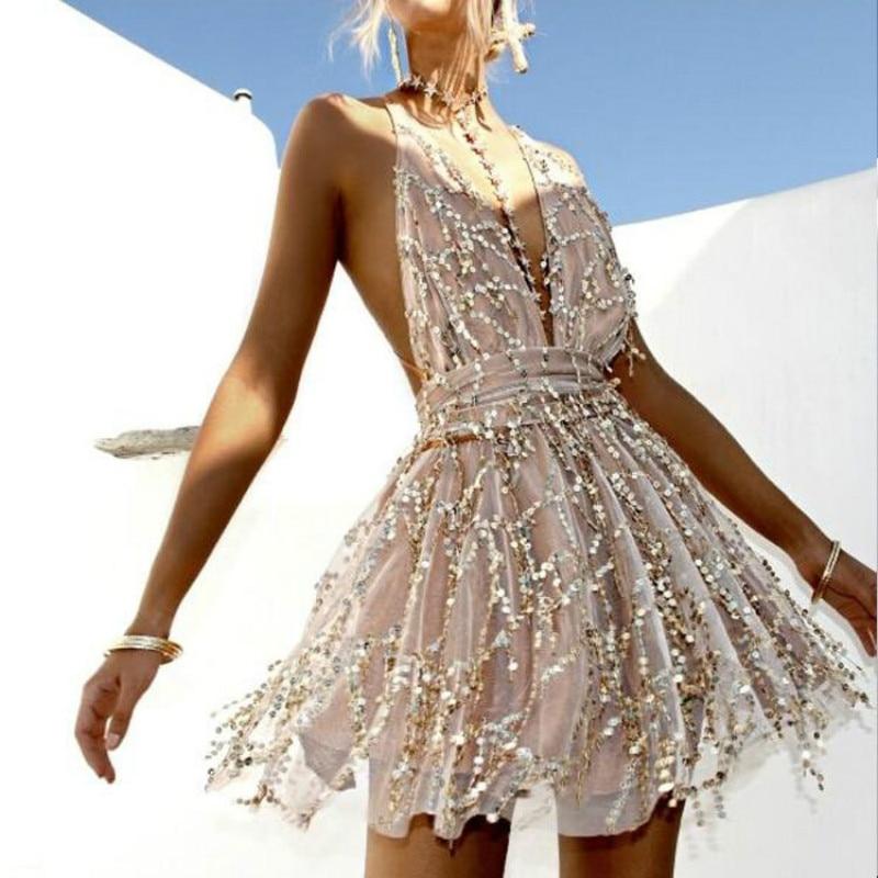 2018 Party dresses Sexy Dresses Women Backless Halter Black Gold Mini Dress Party Tassel Summer Dress Women Club Wear
