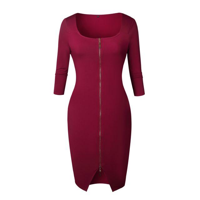 Women Sexy Club Low Cut Bodycon Dress Red Velvet Sheath 2018 Casual Autumn Winter Zipper Fashion Party Dresses Black Office Work