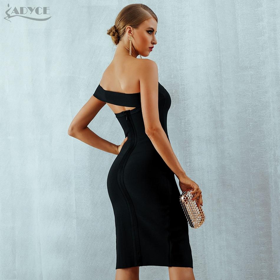 Adyce Bodycon Bandage Dress Women Vestidos Verano 2019 Summer Sexy Elegant White Black One Shoulder Midi Celebrity Party Dresses