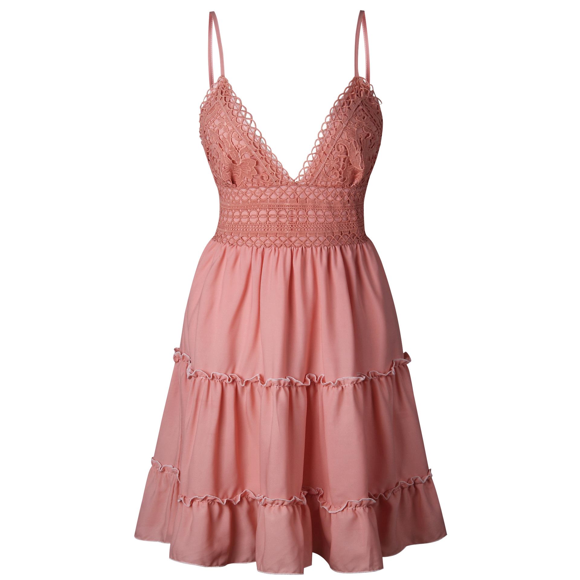 Summer Women Lace Dress Sexy Backless V-neck Beach Dresses 2018 Fashion Sleeveless Spaghetti Strap White Casual Mini Sundress