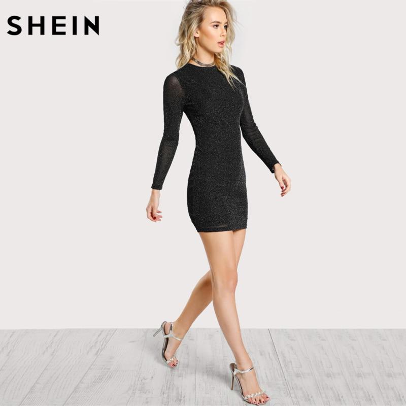 SHEIN Glitter Form Fitting Tee Dress Black Women Dress Long Sleeve Sexy Bodycon Dress Autumn Elegant T-shirt Dress