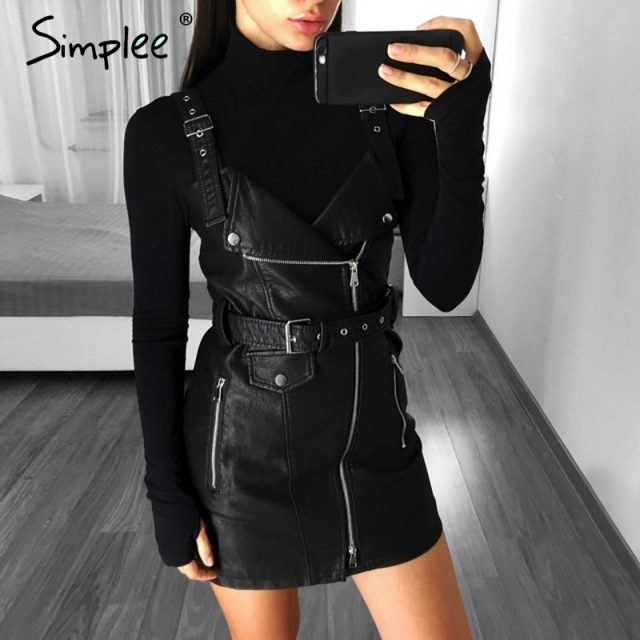 Simplee Fashion PU leather women dress V neck mini bodycon sexy dress Christmas zipper autumn winter short dress ladies vestido