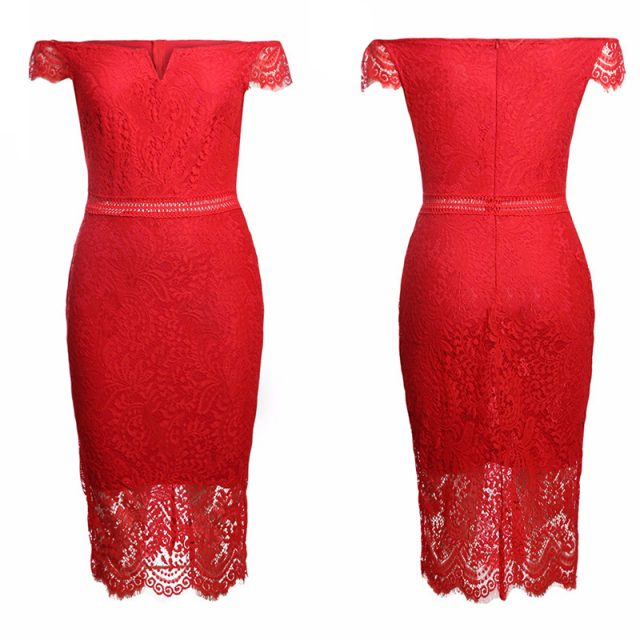 SEBOWEL 2019 Sexy Red Lace Bardot Party Midi Dress Women Short Sleeves Off Shoulder Bodycon Dresses Ladies Slash neck Club wear