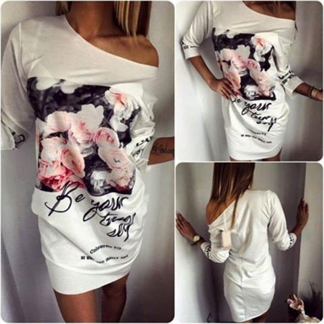 Fashion spring and summer ladies sexy elegant bag hip dress Cropped Sleeve Fashion Print Floral Mini Pencil Dress Fashion women