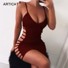 Articat Side Hollow Out Sexy Bodycon Bandage Dress Women Spaghetti Strap V Neck Mini Summer Dress Casual Party Dress Vestidos