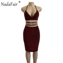 Nadafair Two Pieces Set Women V Neck Halter Shine Sexy Club Dress Summer Midi Bandage Bodycon Party Dress Gold Black Red