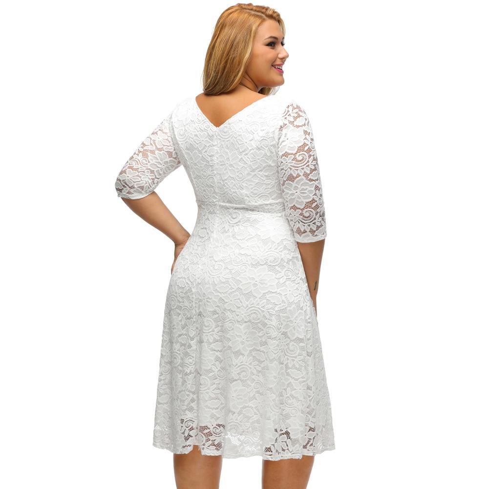 Romacci Women White Lace Dresses 2018 High Quality Floral 3/4 Sleeve A-Line Plus Size Dress Female V Zip Back Black Party Dress