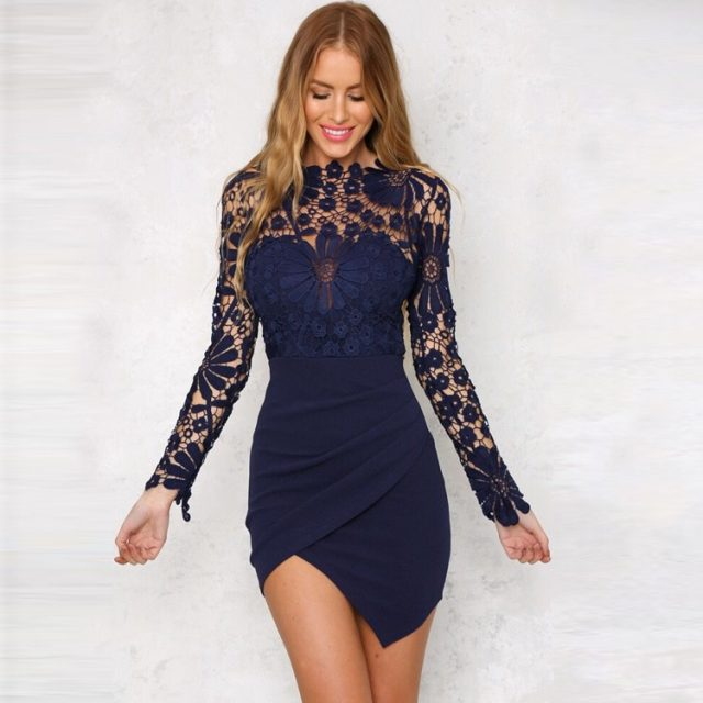 Summer Sexy Hollow Out Lace Dress Women Cotton Long Sleeve Slim Red Black Bodycon Dresses 2018 Short Elegant Party Dress Vestido