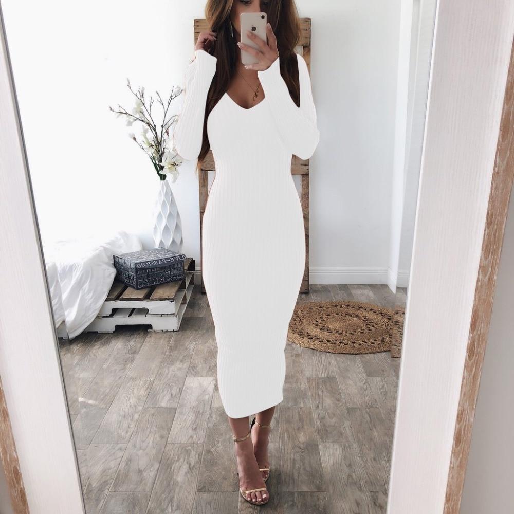 LOSSKY Autumn Winter Knitted Bodycon Maxi Dress Sexy Long Sleeve V Neck Women Elegant Slim Women Fashion Thin Long Dresses 2018