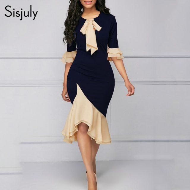 Sisjuly Vintage Elegant Office Lady Women Dresses Bodycon Flare Sleeve Bow Collar Falbala Girls Sexy Female Retro Party Dress