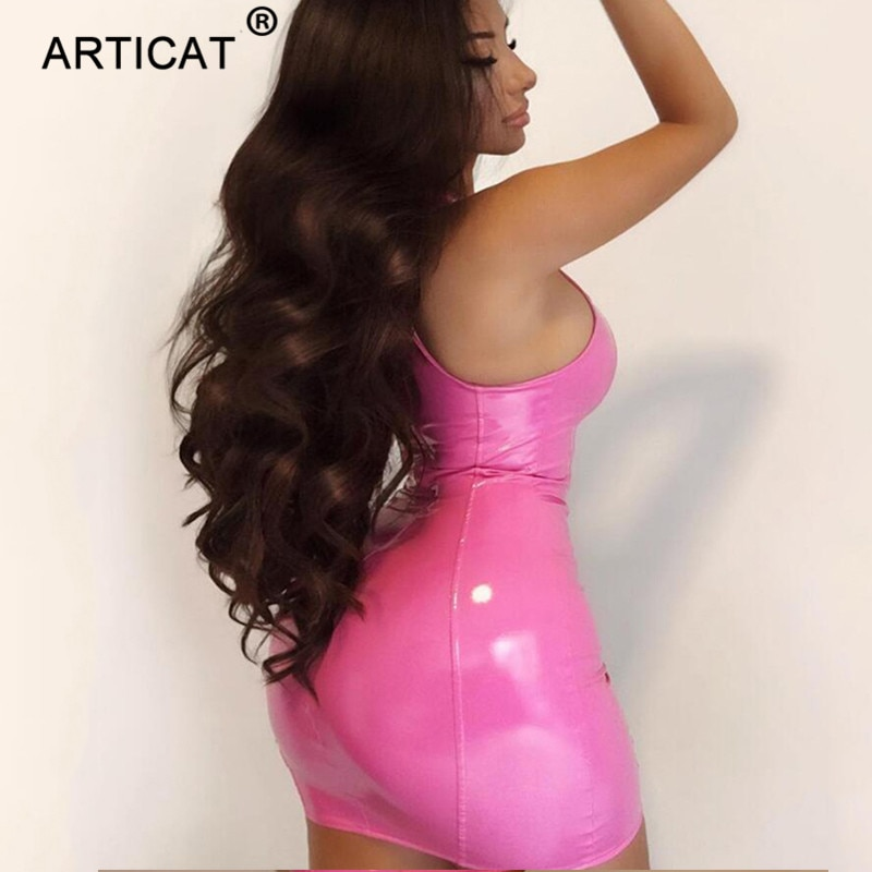 Articat PU Leather Sexy Bodycon Women Dress Pink Strap Sleeveless U-Neck Skiny Sheath Mini Dress Sexy Club Dress Short Vestidos