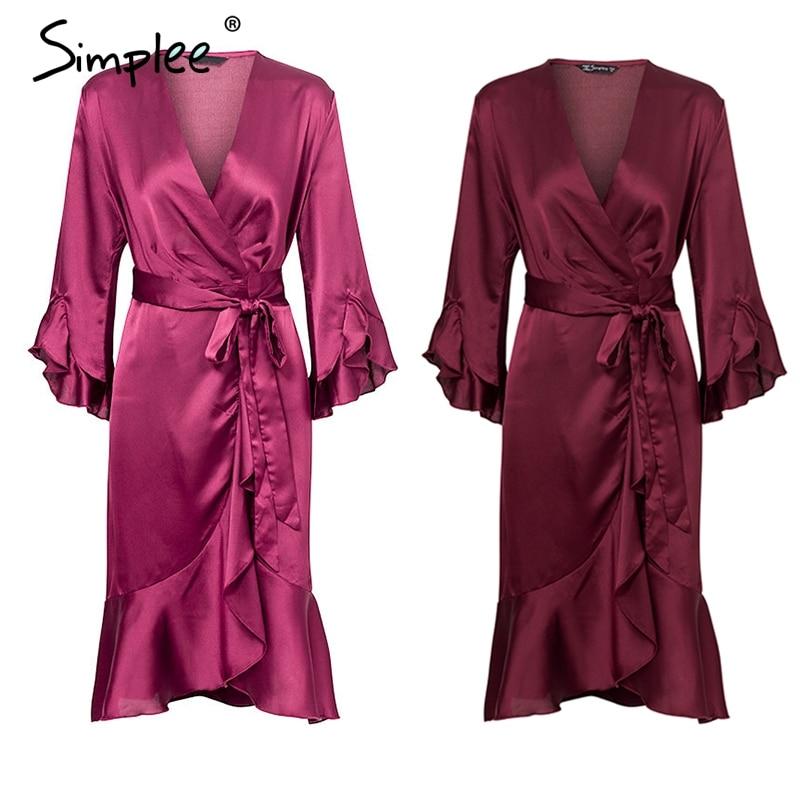 Simplee Elegant women satin dress Ruffle flare sleeve lady wrap dress 2019 Autumn winter green sexy female dress vestidos festa