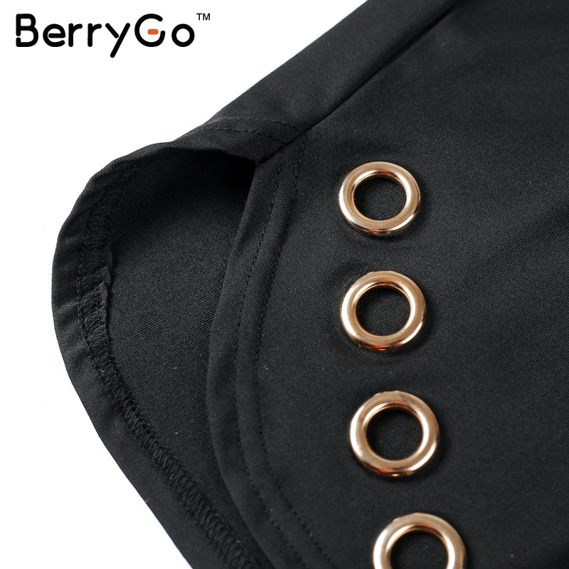 BerryGo Sexy hollow out cotton bodycon dress Women ladies long sleeve black dress Elegant party short dress vestidos de fiesta