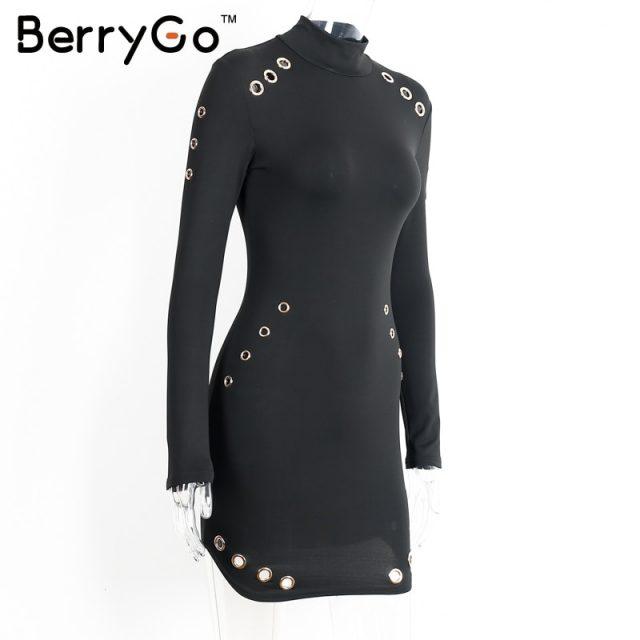 BerryGo Sexy hollow out cotton bodycon dress Women ladies long sleeve black dress Elegant party short dress vestidos de fiesta