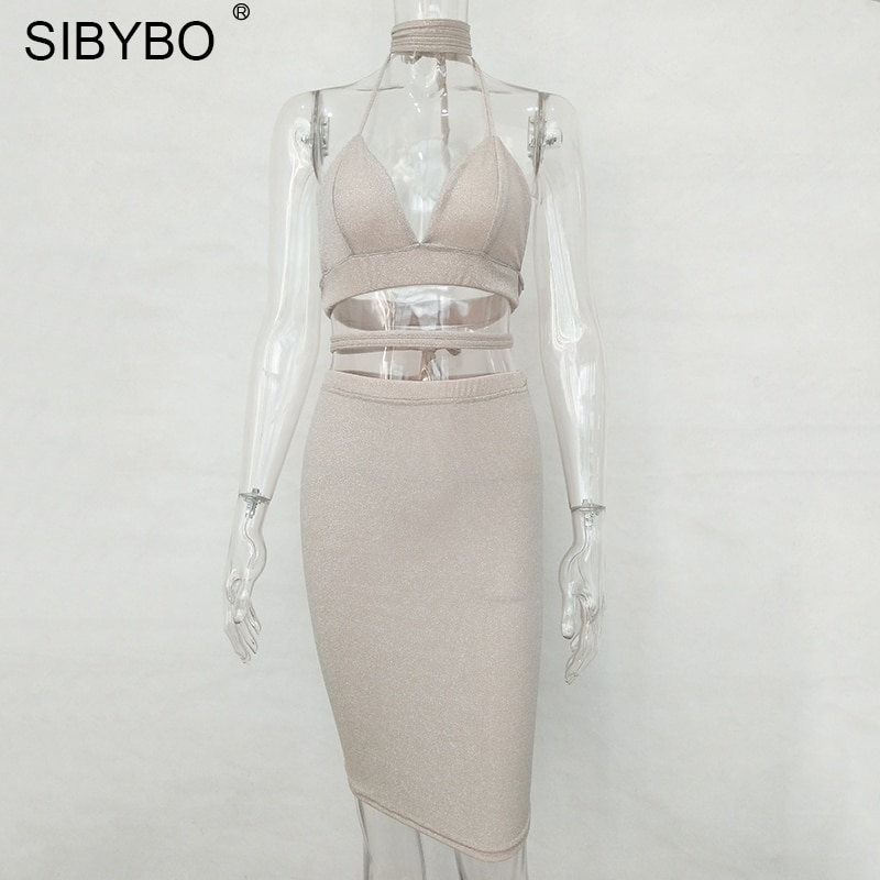 Sibybo Sexy Sparkly Bandage Bodycon Dresses 2018 Halter Deep V Neck Lace Up Crop Top Two Piece Set Summer Party Dresses Vestidos