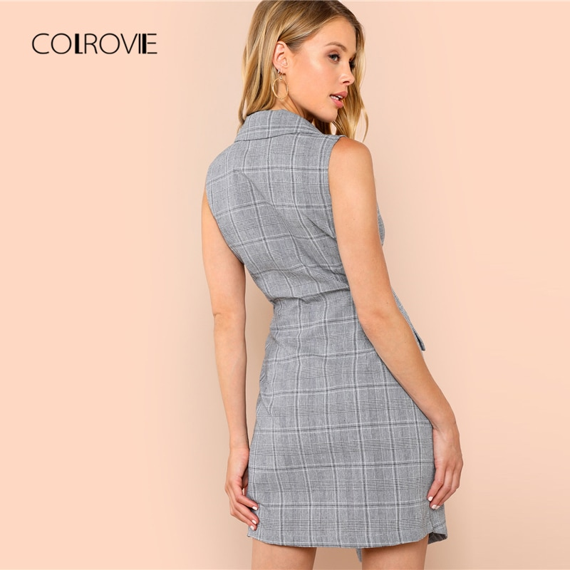 COLROVIE Plaid Work Wrap Button Pockets Vintage Dress V Neck Shirt Sexy Dress Women Autumn Elegant Mini Summer Dresses