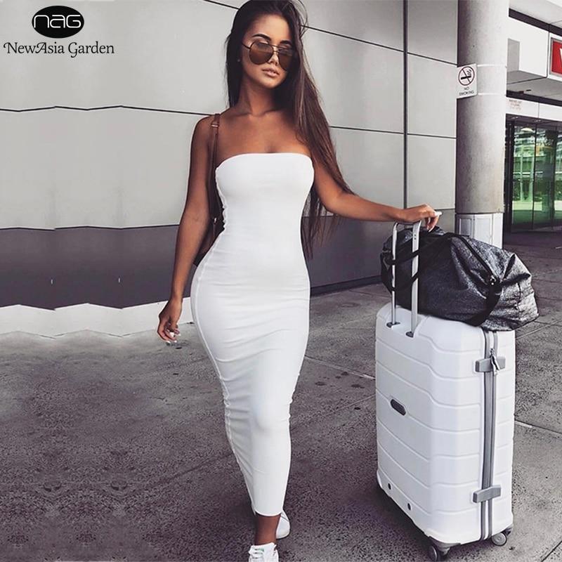 NewAsia Garden 2 Layers 2019 Cotton Summer Dress Women Autumn Maxi Dress Sexy Bodycon Dress Long Dresses White Vestido Midi New