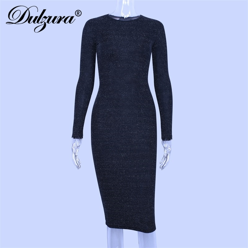 Dulzura glitter sparkle bling long sleeve dress sexy party 2018 autumn winter elegant bodycon christmas sequins club office