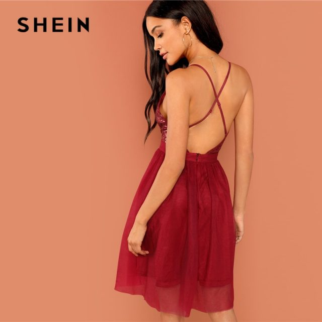 SHEIN Burgundy Sexy Party Backless Sequin Detail Mesh Halter High Waist Solid Dress 2018 Summer Club Fashion Women Dresses