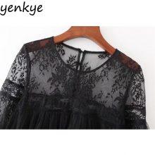 Vintage Women Ruffle Trims Voile Dress Lace Shoulder Long Sleeve Black Mini Sexy Mesh Dresses XZWM17130