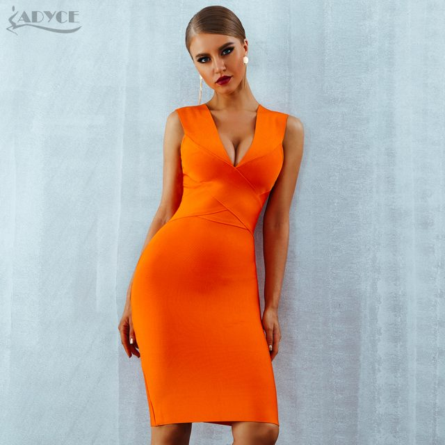 ADYCE Summer Women Bandage Dress Vestidos Verano 2019 Orange Red Tank Sexy Deep V-Neck Sleeveless Bodycon Celebrity Party Dress