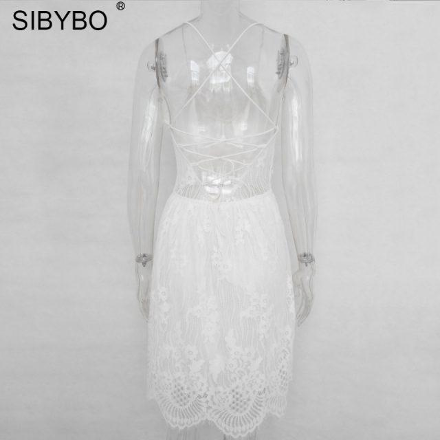 Sibybo Backless Spaghetti Strap Sexy Lace Dress Women Sleeveless V-Neck Loose Summer Dress Cotton Black Elegant Party Dresses