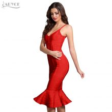 Adyce Women Summer Bandage Dress 2019 Pink Spaghetti Strap Mermaid Vestidos V-Neck Midi Clubwears Celebrity Evening Party Dress