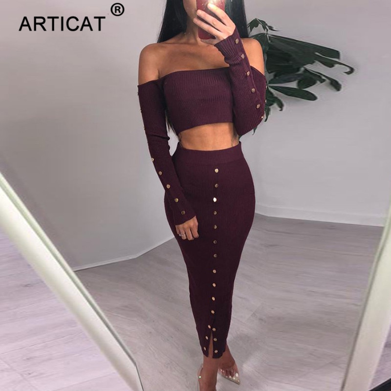 Articat Off Shoulder Long Sleeve Sexy Bodycon Dress Women Autumn Winter Two Piece Strapless Party Dresses Casual Sweater Dress