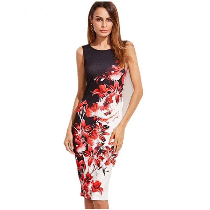 S-5XL Plus Size Women New Summer Sleeveless Female Printed Dress Sexy Slim Bodycon Streetwear Midi Dress Robe Blg Size Clothing
