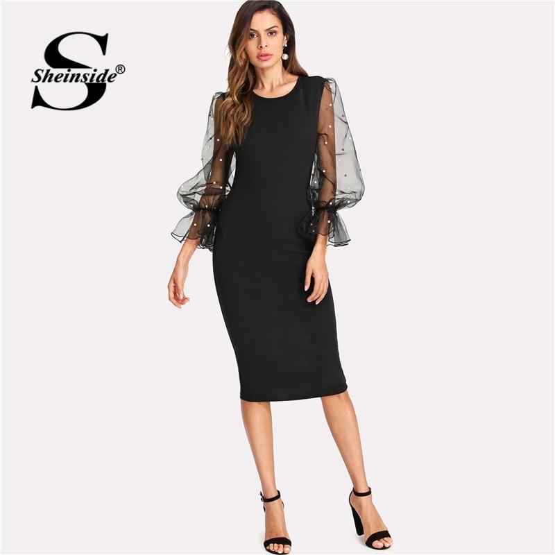 Sheinside Pearl Beaded Mesh Sleeve Midi Dress Women Knee Length Regular Fit Bodycon Dress Summer Elegant Pencil Party Dress