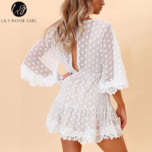 Lily Rosie Girl White Lace Dot Women Mini Dresses Summer Sexy V Neck Party Beach Mesh Dress Backless Flare Sleeve Vestidos