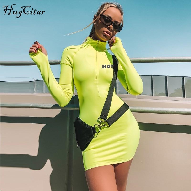 Hugcitar long sleeve high neck zipper high waist bodycon sexy letters print sportswear 2018 autumn winter women fashion dresses
