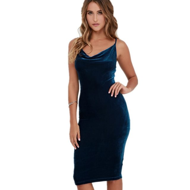 Benuynffy Women Sexy Spaghetti strap Midi Dresses Elegant Solid Velvet Club Party Backless One-Piece Bodycon Pencil Dress Q856