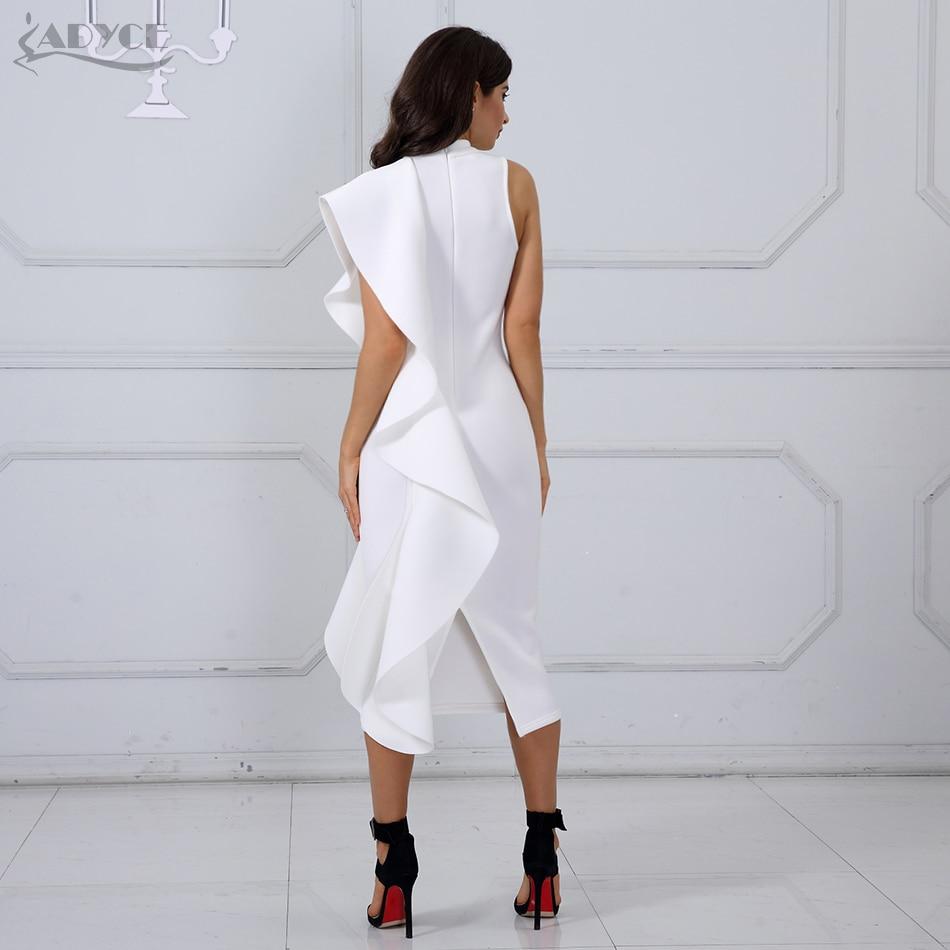 Adyce 2019 New Summer White Women Celebrity Party Dress Sexy Wine Red Sleeveless Patchwork Ruffles Bodycon Club Dresses Vestidos