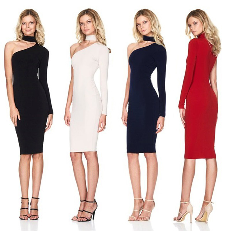 Nadafair One Shoulder Sexy Club Bodycon Party Dresses Women 2019 Spring Long Sleeve Halter Wrap Pencil Dress Red Black White