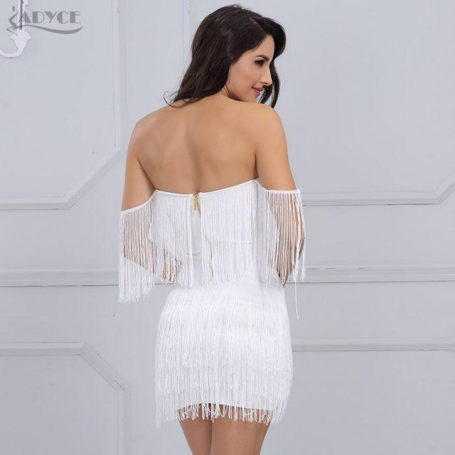 Adyce 2019 Summer Fringe Women Bandage Dress Elegant Club Party Dress Sexy V Neck Off Shoulder Tassel Mini Club Dresses Vestidos