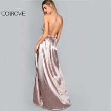 COLROVIE Maxi Party Dress Women Pink Plunge Neck Sexy Cross Back Wrap High Slit Summer Dresses Elegant Club Long Cami Dress