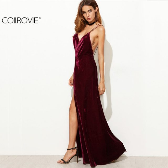 COLROVIE Burgundy Velvet Maxi Backless Dress Womens Autumn Party Dresses Deep V Neck Long Elegant Dress New Strappy Wrap Dress