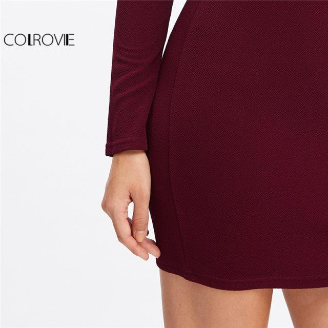 COLROVIE Long Sleeve Mini Dress Womens Autumn Winter Dresses Women Sexy Party Burgundy Off Shoulder Ruffle Bodycon Dress