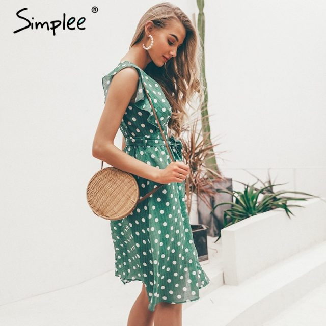 Simplee Sexy V neck polka dot green summer dress women 2019 Casual ruffle midi dress Elegant holiday beach female vestidos festa