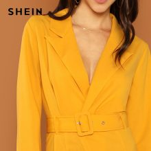 SHEIN Streetwear Weekend Casual Ginger Waist Belted Wrap Notched Neck Asymmetrical Maxi Dress 2018 Autumn Elegant Women Dresses